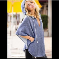 Victoria's Secret Gray Oversized Poncho So comfy and perfect with leggings and boots! Victoria's Secret Tops