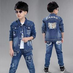 Special offer Boys Denim Long Sleeve Suits Classic Lapel Coat Vetement Enfant Garcon Two-piece High Quality Fabric Children's Clothing just only $27.88 with free shipping worldwide  #boysclothing Plese click on picture to see our special price for you