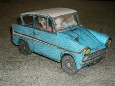 Paper Model of the Flying Ford Anglia Car from Harry Potter and the Cham... Enjoy my fellow HP fans