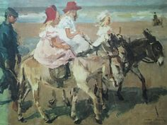 DONKEY RIDE ON BEACH Isaac Israels vintage donkeys art