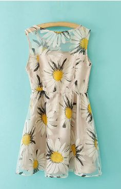 Sunflowers Printing Organza Splicing Sleeveless Dress