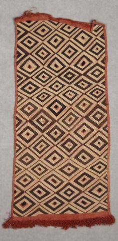 Africa | Design panel ~ bwiin ~ from the Shoowa people of DR Congo | Raffia palm fiber, Pterocarpus redwood (tukula or camwood) dye, unidentified pigment dye | ca. prior to 1924