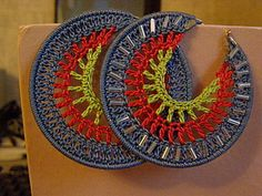 Crocheted earrings - step-by-step picture tutorial, however, instructions are in Russian and will need translation