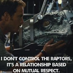 """""""See it's all about control with you. I don't control the raptors, it's a relationship. It's based on mutual respect."""" ~ Owen Grady World. Jurassic World Raptors, Blue Jurassic World, Jurassic Movies, Jurassic Park 1993, Jurassic World Fallen Kingdom, Relationship Bases, Mutual Respect, Falling Kingdoms, Movie Theater"""