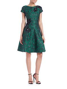 Teri Jon by Rickie Freeman - Floral Jacquard Dress