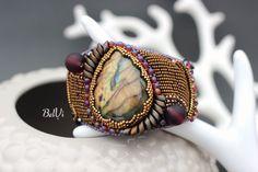 """Купить Вышитый браслет с лабрадоритом, лабрадором """"Miracle"""" бронзовый - бронзовый цвет, браслет с лабрадоритом"""