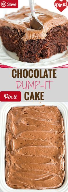 Chocolate Dump-It Cake - Chocolate Dump-It Cake: An old-fashioned recipe for chocolate cake mixed together in one pot topped with a tangy cream cheese-chocolate #delicious #diy #Easy #food #love #recipe #recipes #tutorial #yummy @mabarto - Make sure to follow cause we post alot of food recipes and DIY we post Food and drinks gifts animals and pets and sometimes art and of course Diy and crafts films music garden hair and beauty and make up health and fitness and yes we do post women's…