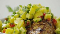 Sweet spicy Mango Salsa. Perfect for serving over chicken and fish or with chips and fresh guacamole!