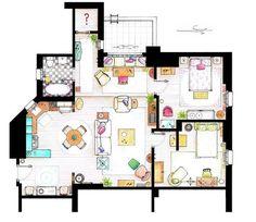 Le plan de l'appartement de Rachel et Monica dans Friends #Deco
