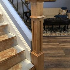 Red Oak & Primed White Newel Posts- Posts for stairs Stair Railing Parts, Stair Spindles, Parts Of Stairs, Iron Balusters, Iron Staircase, Wrought Iron Stairs, Metal Stairs, Staircase Design, Oak Newel Post
