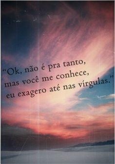 """""""Ok, não é pra tanto, mas você me conhece, eu exagero até nas virgulas."""" #portugues"""