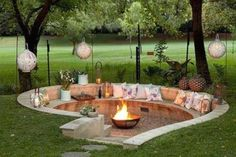 "DIY Fire Pit ~ Backyard Budget Decor - Lost PiecesVisit our website for more relevant information on ""Outdoor fireplace ideas"". In fact, a great area to get more information. design ideas for outdoor Sunken Fire Pits, Diy Fire Pit, Fire Pit Backyard, Backyard Patio, Backyard Ideas, Backyard Seating, Patio Ideas, Outdoor Kitchen Design, Patio Design"