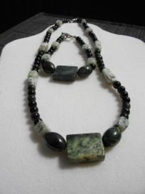 """""""Losing Your Marbles""""  Natural Green Marble, Sesame Jasper, Green Serpentine Necklace $30.00"""