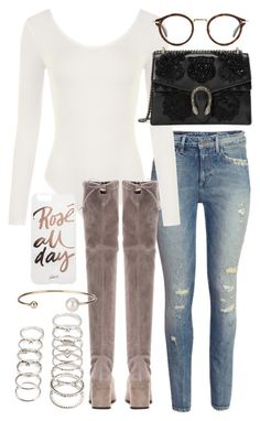 """""""Untitled #20918"""" by florencia95 ❤ liked on Polyvore featuring H&M, WearAll, Stuart Weitzman, CÉLINE, Gucci, Sonix, Letters By Zoe and Forever 21"""
