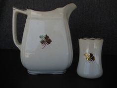 alfred meakin ironstone china brocade luster tea leaf pitcher& toothbrush holder