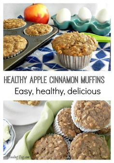 Healthy Apple Cinnamon Muffins. Made with Greek Yogurt and Oatmeal, these muffins are full of protein. Clean eating at it's best.
