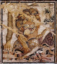 Pompeii, House of the Doves. Mosaic of a Lion and a Leopard. 1st c. BC - 1st c. AD.