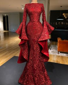Evening Dress Long, Burgundy Evening Dress, Mermaid Evening Gown, Evening Dresses With Sleeves, Long Sleeve Evening Gowns, Elegant Evening Gowns, Sequin Evening Gowns, Designer Evening Gowns, Evening Outfits