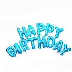 Happy Birthday Blue Balloon Kit  Foil Balloon  16 by pingosdoceu