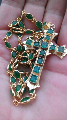 Gorgeous  22k Gold Emerald Cross Necklace 20.5 Grams on Etsy, $3,500.00