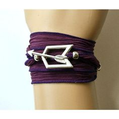 Hawkeye Purple Silk Wrap Bracelet with Toggle Closure, Fully... (€28) ❤ liked on Polyvore featuring jewelry, bracelets, ribbon jewelry, beaded jewelry, adjustable bangle, beaded wrap bracelet and bead jewellery