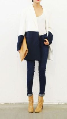 Perfectly teamed: Winter coat and indigo denim.