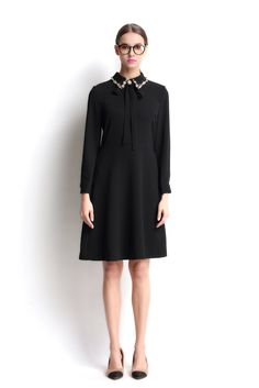 Eileen Elisa Women's Black Shirt Polyester Dresses Long Sleeve Dress for Girls. PLEASE CHOOSE YOUR SIZE BASED ON MEASUREMENT BELOW THEN TELL US. Waist:(S) 68cm (M) 72cm (L) 76cm/Bust: (S) 88cm (M) 92cm(L) 96cm. 2017 New Black Dresses. Fashion High Quality Dresses. Hand Wash Seperately in Cold Water.