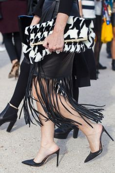Paris Street Style - Fringe leather skirt for dancing the night away.
