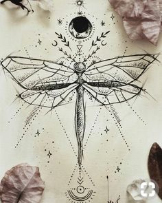 geometric drawings, insect, moon, sun and stars, ancient symbols tatoo feminina - tattoo feminina de Tattoo Drawings, Body Art Tattoos, Arm Tattoos, Tattoo Art, Sketch Tattoo, Shape Tattoo, Tiny Tattoo, Dragon Fly Tattoos, White Ink Tattoos
