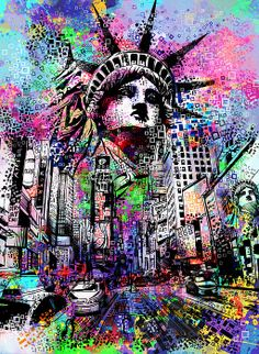"""Giclee Stretched Canvas Wall Art by Bekim Mehovic """"Time Square"""" – Picture Perfect Int. Graffiti Wallpaper Iphone, Crazy Wallpaper, Pop Art Wallpaper, Trippy Wallpaper, 8k Wallpaper, Galaxy Wallpaper, Graffiti Wall Art, Street Art Graffiti, Graffiti Drawing"""
