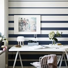 Inspiring & evocative design inspiration for room makeovers, this post takes the reader through 10 striped wallpaper design ideas for any room in the house. Office Wallpaper, Home Wallpaper, Classic Wallpaper, Wallpaper Direct, Wallpaper Decor, Painting Wallpaper, Striped Wallpaper Design, Wallpaper Designs, Painting Stripes On Walls