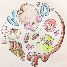 【Around midnight】バレンタインフェアに!went to the Valentine Fair! #bison #frog #animal #chocolate #valentine #かえる #バイソン #動物 #バレンタイン #チョコレート #drawing #illustration #おえかき #イラスト