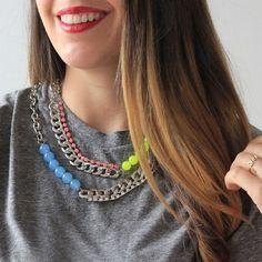 NEW DIY | Neon & rhinestone necklace today on www.ispydiy.com! #diy