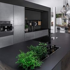 The heart of the house. Cooking islands are the heart of the kitchen. Kitchen islands are communicative and often offer several p Luxury Kitchens, Cool Kitchens, Interior Architecture, Interior Design, Shed Homes, Best Kitchen Designs, Living Room Kitchen, Kitchen Interior, Home And Living