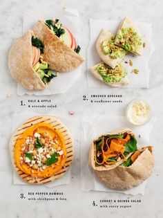 My can't-live-without-it item for quick lunches is whole wheat pita bread. Healthy and filling, pita rounds can be stuffed with salads, made into sandwiches, or