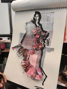 Textiles Sketchbook, Fashion Design Sketchbook, Fashion Design Portfolio, Fashion Design Drawings, Art Sketchbook, Fashion Sketches, Art Portfolio, Fashion Illustration Collage, Illustration Mode
