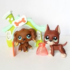 Littlest Pet Shop RARE Chocolate Brown Cocker Spaniel 960 Great Dane 1519 Star  #Hasbro