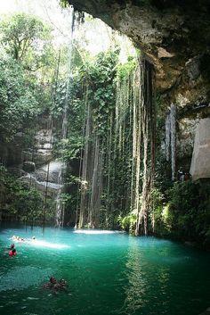 A cenote in a Mexico cave
