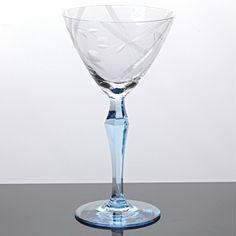 1 (von2) Weinglas Weißweinglas Stängelglas Hellblau Art Deco ~ 30er Jahre Glas