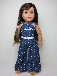 American Girl doll clothes - Wide leg pillowcase romper & belt by JazzyDollDuds