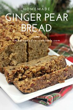 The sweet taste of fresh pear compliments the bold flavor of ginger perfectly in this soft and moist homemade Ginger Pear Bread recipe. Easy Bread Recipes, Milk Recipes, Baking Recipes, Jelly Recipes, Yummy Recipes, Baking Soda Baking Powder, Bread Baking, Fresh Pear Recipes, Pastries