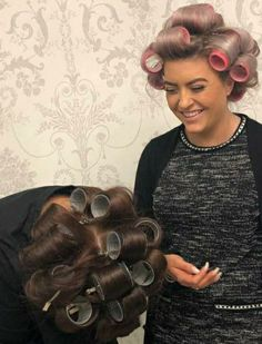 Gavin and Dave seeing one another feminised for the first time! Sleep In Hair Rollers, Hair Curlers Rollers, Hot Rollers, Wet Set, Roller Set, Vintage Glamour, Facon, Beauty Shop, Perm