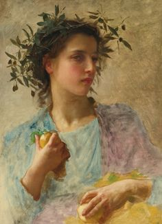 William Adolphe Bouguereau L'éte oil on canvas 25 3/4 X 18 7/8 in.