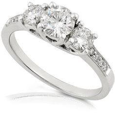 Amazon.com: 1/2ctw Three Stone Round Brilliant Diamond Engagement Ring (HI/SI) in 14K White Gold: Diamond-Me: Jewelry