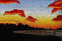 This guy does really amazing mosaics:    Sunset from Mooloolaba Beach with colours enhanced by the cane fires burning in the hinterland Mosaic mural in ceramic tiles by Brett Campbell Mosaics
