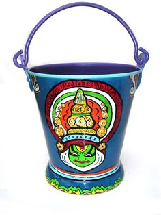 Hand painted aluminium bucket can be used as a planter, or boy box.