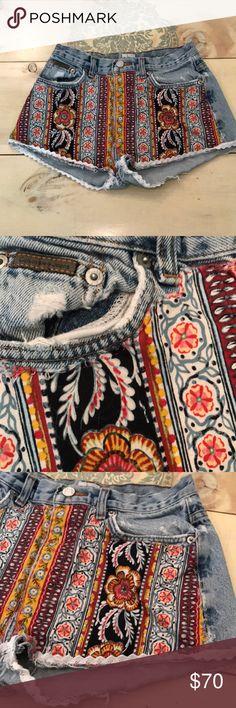 Vintage Calvin Klein Handmade Patchwork Shorts 2 Vintage Calvin Klein Handmade Patchwork Shorts 2. Lace Trim. Made with original 70's fabric. Calvin Klein Shorts Jean Shorts