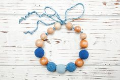 Items similar to Nursing necklace - Teething necklace - Baby nursing toy - Necklace for mom - Juniper Wood - Organic cotton - Blue on Etsy Nursing Necklace, Teething Necklace, Beaded Necklace, Beaded Bracelets, Toy, Trending Outfits, Unique Jewelry, Classic, Handmade Gifts