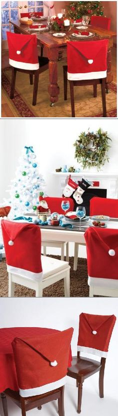 Deck the halls, in Santa hats! Add some Holiday spirit to your table with these red and white chair covers.