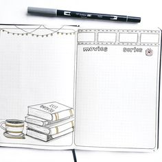 Bullet journal entertainment tracker, reading tracker, book tracker, movie tracker, TV series tracker, book drawings, movie film drawing. | @thestudiesphase